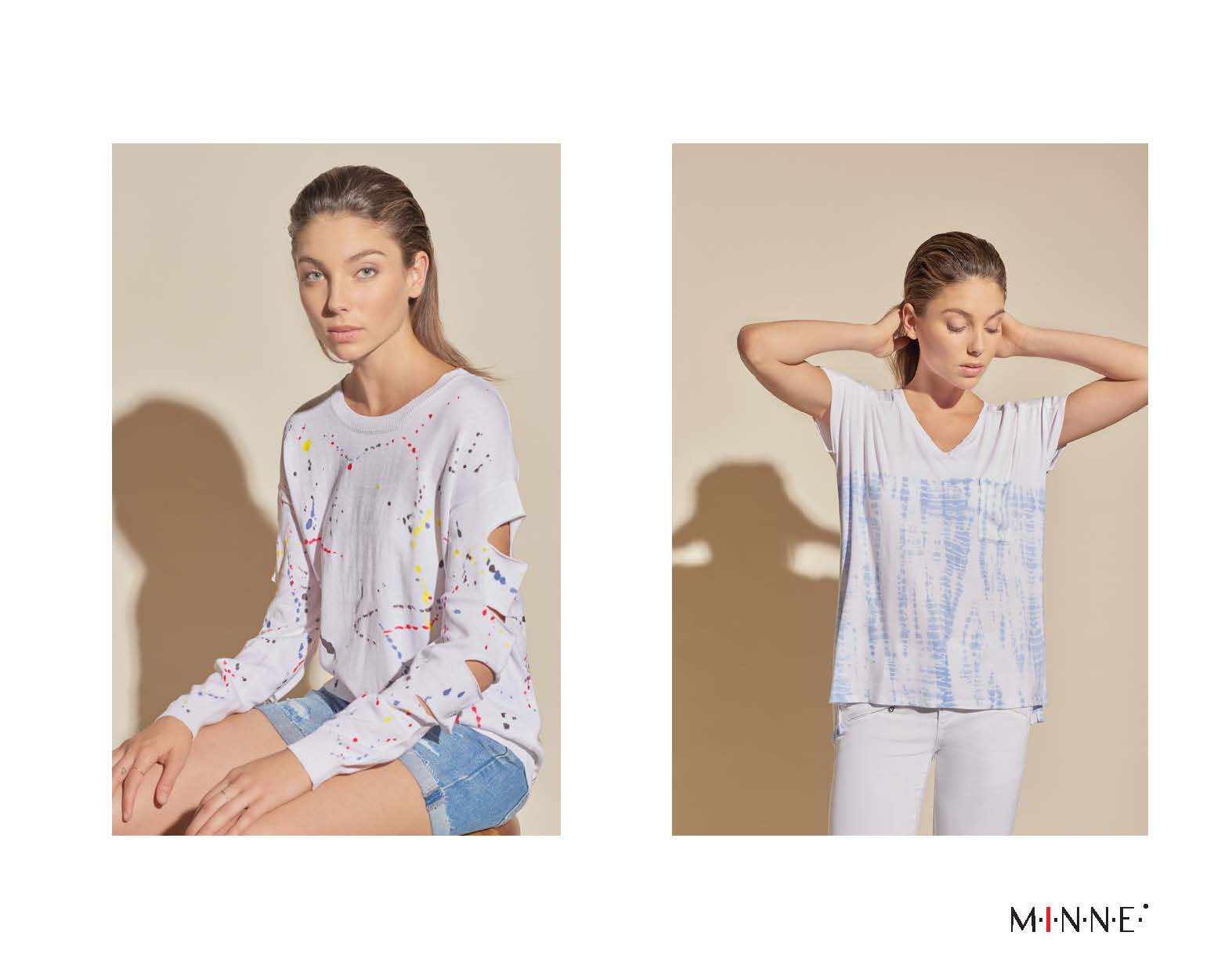 m-i-n-n-e-spring-18-lookbook-splatter print slash sleeve top and border dyed v-neck