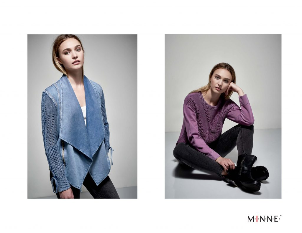 MINNE Fall 2018 Lookbook Waterfall sweater sleeve top and distressed cable sweater